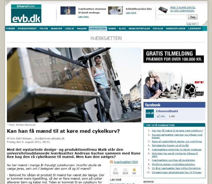 MAIK in Erhversvbladet (August 2011)