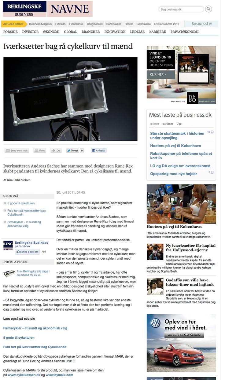The Bike Crate in Erhvervs Bladet (June 2011)